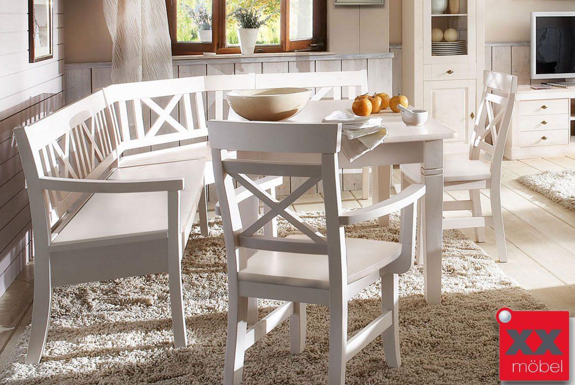 eckbankgruppe landhausstil wei linea kiefer. Black Bedroom Furniture Sets. Home Design Ideas