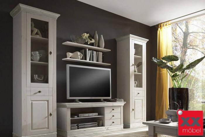 wohnwand komplett landhausstil linea kiefer massivholz w01. Black Bedroom Furniture Sets. Home Design Ideas