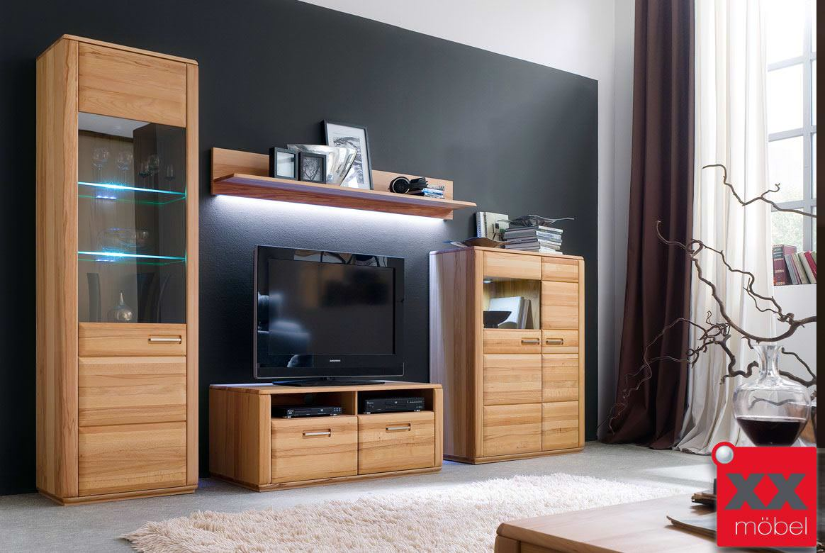 wohnwand komplett modern sena eiche o kernbuche w01. Black Bedroom Furniture Sets. Home Design Ideas