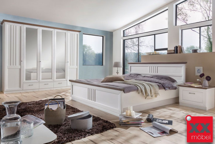 Schlafzimmer Landhausstil komplett | Eleganza | Kiefer teilmassiv | G2