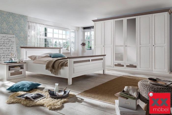 Schlafzimmer Landhausstil Weiß | Lugano | Kiefer Teilmassiv | P03