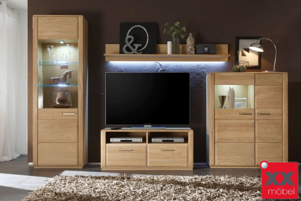 wohnwand komplett modern sena eiche o kernbuche w01. Black Bedroom Furniture Sets. Home Design Ideas