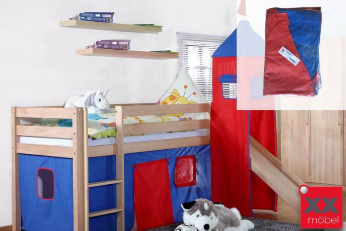 Stoffset blau / rot | Für Alex Hochbetten mit Turm | Relita