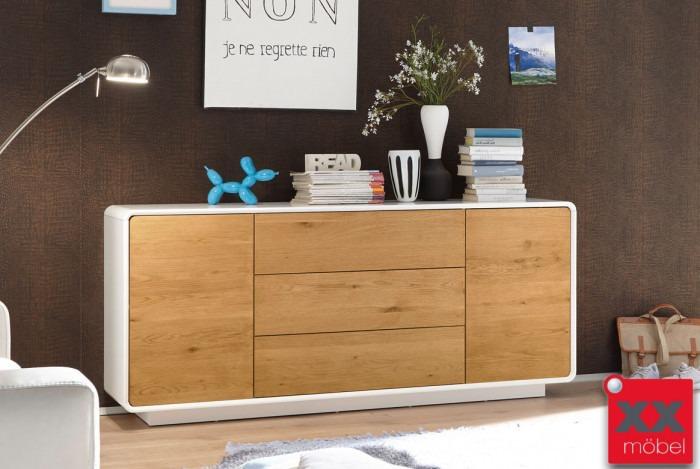 Massivholzmöbel sideboard modern  Sideboard modern weiss | Toulon | Absetzung Asteiche | T63