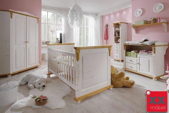 Babyzimmer weiß | 5-tlg. | Roma | Kiefer Massivholz | R04