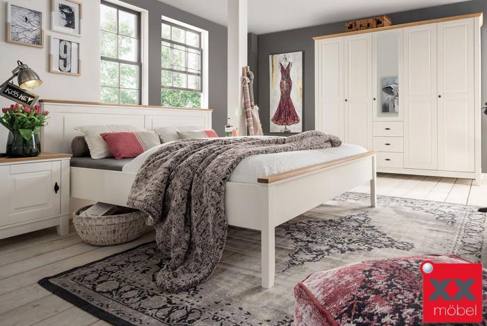Schlafzimmer Landhausstil | Odette | Kiefer Massivholz weiss | S03