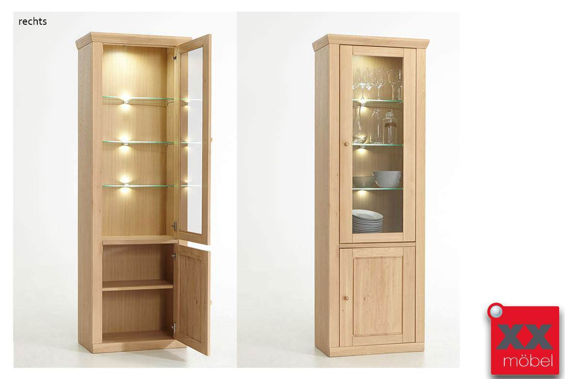 vitrine landhausstil verona eiche bianco teilmassiv t11. Black Bedroom Furniture Sets. Home Design Ideas