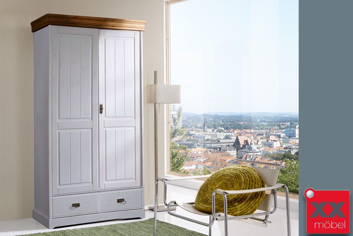 kleiderschrank landhausstil weiss linea kiefer massiv t21. Black Bedroom Furniture Sets. Home Design Ideas
