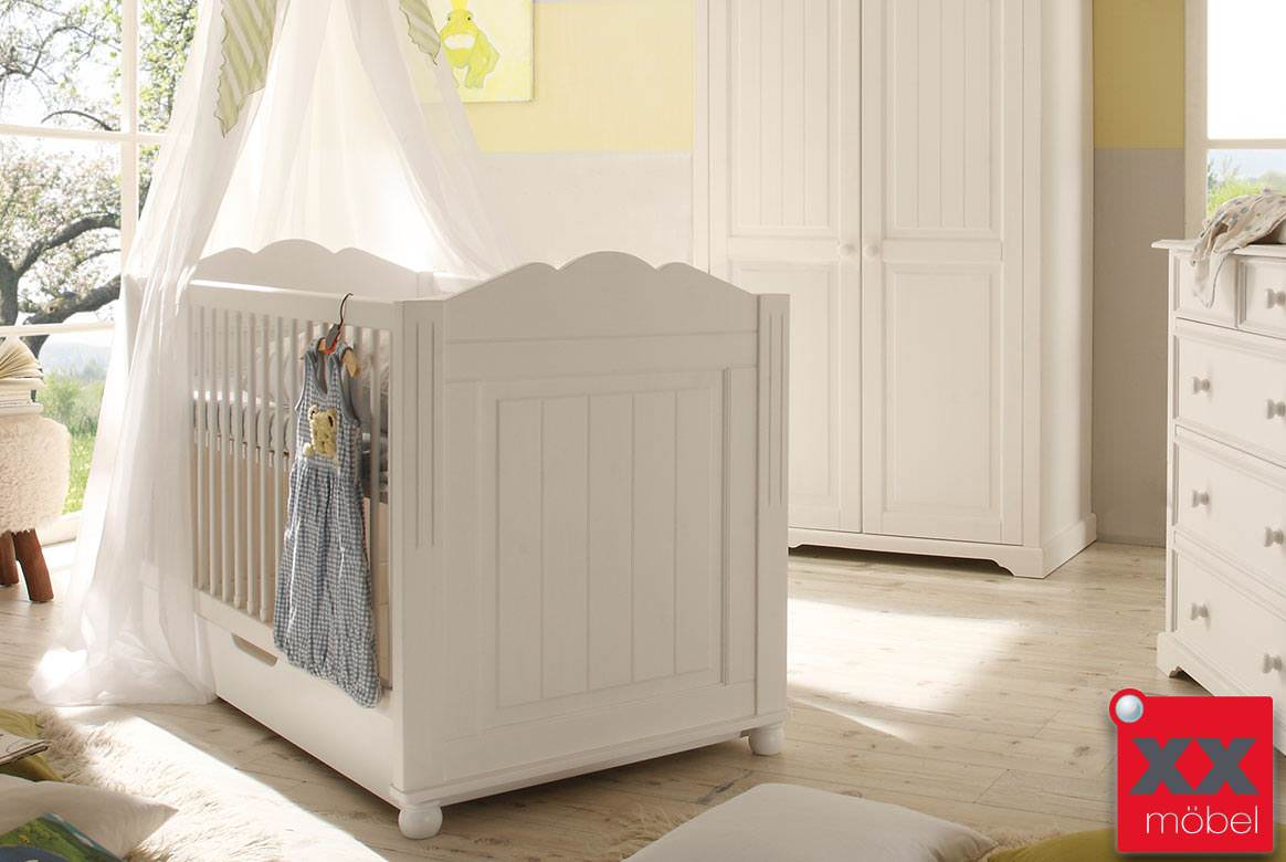 babybett landhausstil weiss cinderella kiefer. Black Bedroom Furniture Sets. Home Design Ideas
