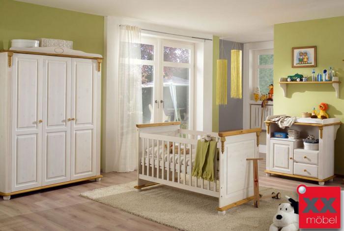 Babyzimmer Landhausstil Weiss Romantik Kiefer Massivholz R05